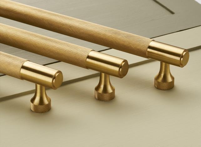 Brass Gold Knurled Bar Handles