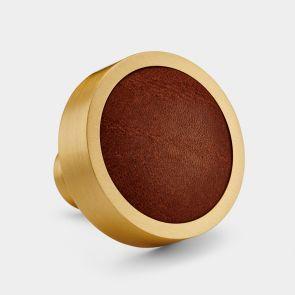 Brass Door Knob - Gold - Brown Leather