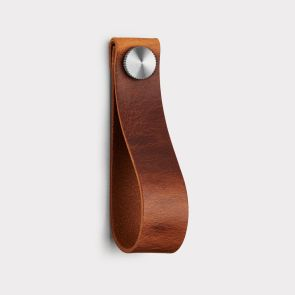 Large Leather Cabinet Pull - Brown