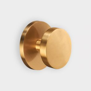 Brass Centre Door Knob - Gold - Round