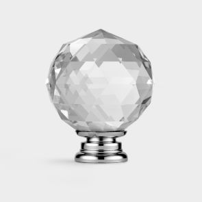 Crystal Door Knob - Clear / Silver - Faceted - 50mm