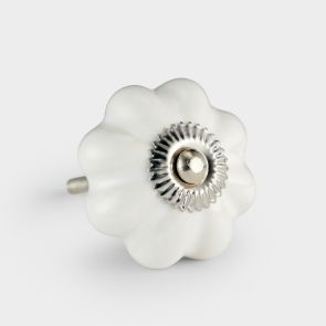 Ceramic Door Knob - White - Flower