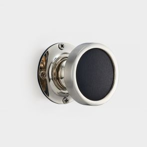 Brass Interior Door Knob - Black Leather