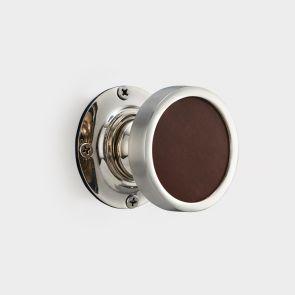 Brass Interior Door Knob - Brown Leather