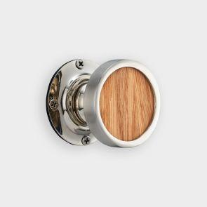 Brass Interior Door Knob - Oak Wood