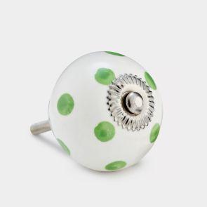 Ceramic Door Knob - White / Green - Spot