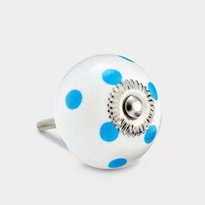 Ceramic Door Knob - White / Blue - Spot