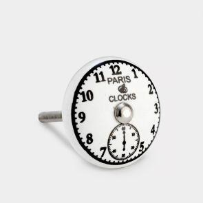 Ceramic Door Knob - White / Black - Paris Clock