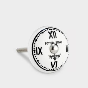 Ceramic Door Knob - White / Black - Potterstone Clock