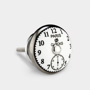 Ceramic Door Knob - White / Silver - Paris Clock