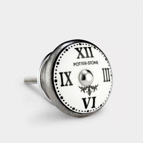 Ceramic Door Knob - White / Silver - Potterstone Clock