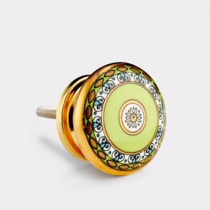 Ceramic Door Knob - Green / Gold