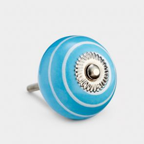 Ceramic Door Knob - Blue / White - Stripe