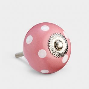 Ceramic Door Knob - Pink / White - Spot