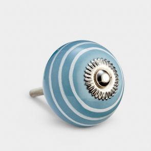 Ceramic Door Knob - Grey / White - Stripe