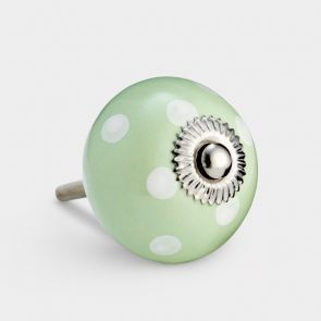 Ceramic Door Knob - Green / White - Spot
