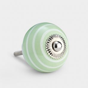 Ceramic Door Knob - Green / White - Stripe