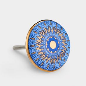 Ceramic Door Knob - Blue / Gold