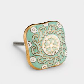 Ceramic Door Knob - Mint Green / White / Gold