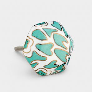 Ceramic Door Knob - Green / White / Gold