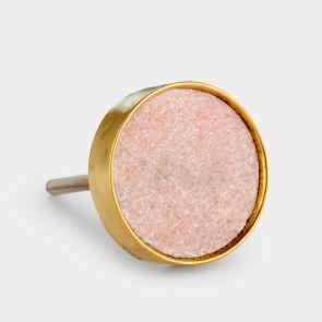 Stone Door Knob - Pink / Gold