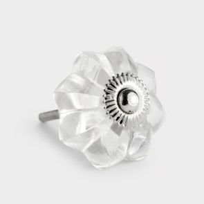 Glass Door Knob - Clear - Flower