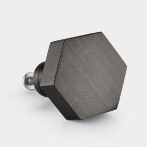 Gunmetal Grey Hexagonal Brass cabinet door knob. Suitable for kitchens and cupboard doors