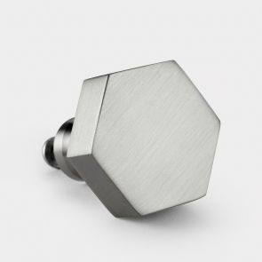Brass Door Knob - Silver - Hexagon