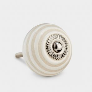 Cream & white round ceramic cupboard knob. Swirl striped design. Shabby chic vintage design. Suitable for all cabinet knobs.