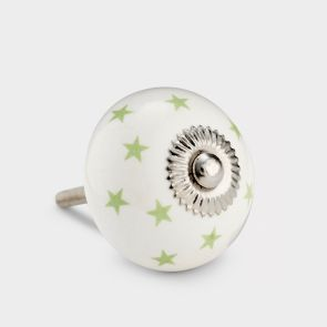 Ceramic Door Knob - White / Green - Stars