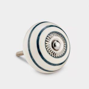 Ceramic Door Knob - White / Grey - Stripe