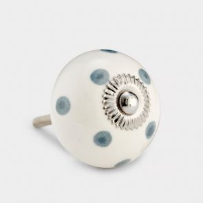 Ceramic Door Knob - White / Grey - Spot