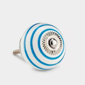 Ceramic Door Knob - White / Blue - Stripe