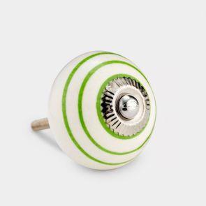 Ceramic Door Knob - White / Green - Stripe
