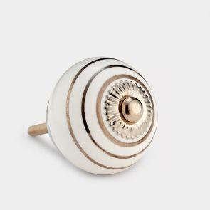 Ceramic Door Knob - White / Silver - Stripe