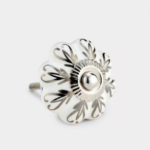 Ceramic Door Knob - White Pattern - Flower