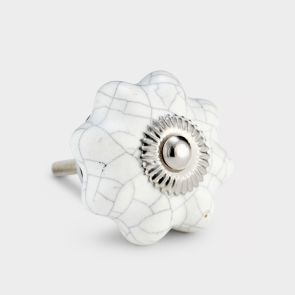Ceramic Door Knob - White Crackled  - Flower