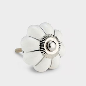 Ceramic Door Knob - White Line - Flower