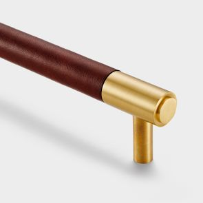 Brass Bar Handles - Gold - Brown Leather
