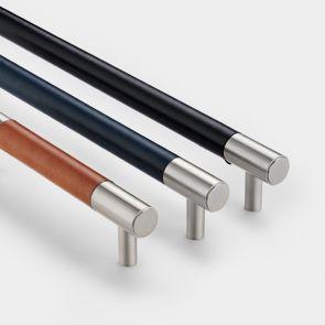 Brass Bar Handles - Silver - Leather