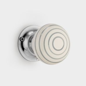 Ceramic Interior Door Knob - White / Grey - Stripe