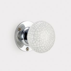 Ceramic Interior Door Knob - White / Grey - Crackled