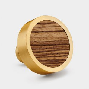 Brass Door Knob - Zebrano Wood