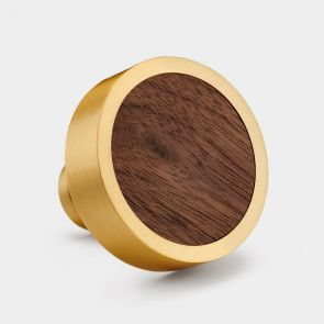 Brass Door Knob - Walnut Wood