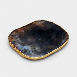 Agate Coaster - Black / Gold