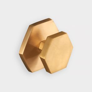 Brass Centre Door Knob - Gold - Hexagon