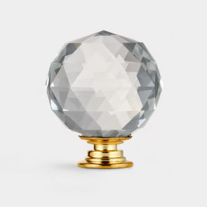 Crystal Door Knob - Clear / Gold - Faceted - 50mm