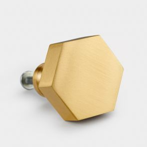 Brass Door Knob - Gold - Hexagon