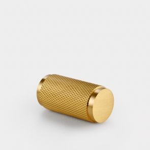 Brass Cylinder Pull - Gold - Knurled