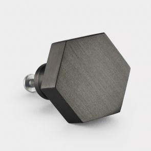 Gunmetal Grey Hexagonal Brass cabinet door knob. Suitable for kitchens and cupboard doors